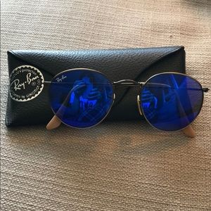 electric blue round ray bans